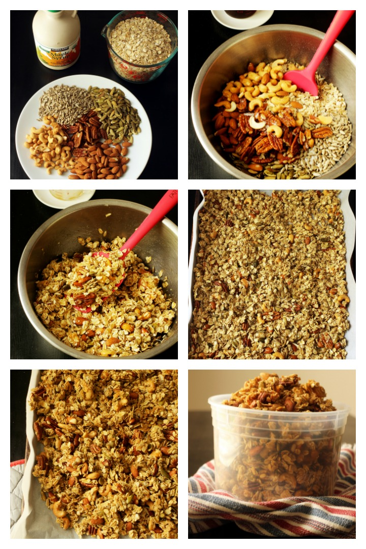 step by step photos of making maple granola