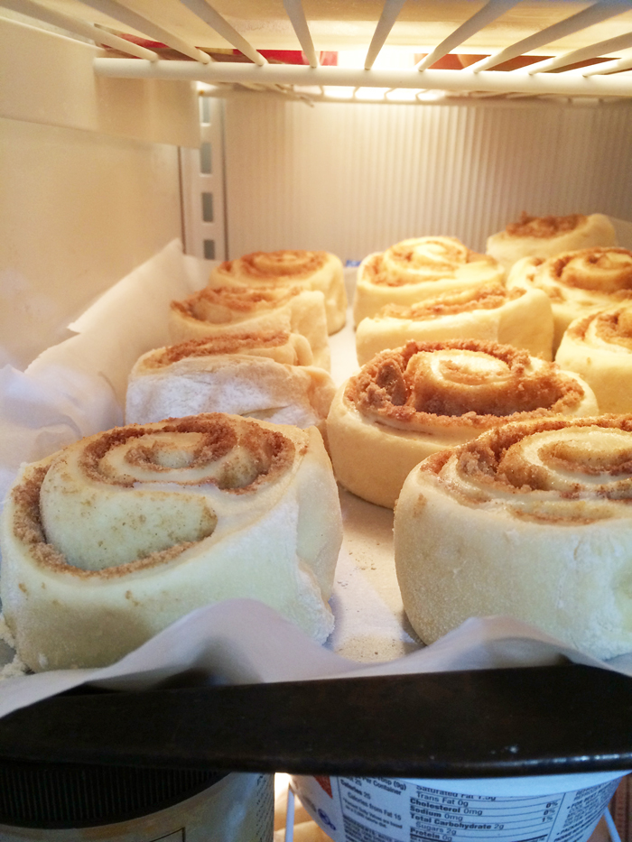 cinnamon rolls open freezing
