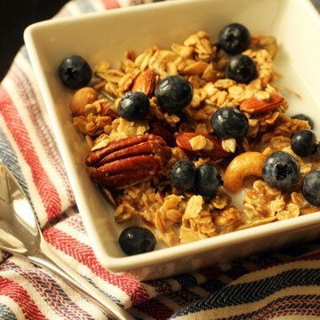 maple granola in bowl on striped napkin