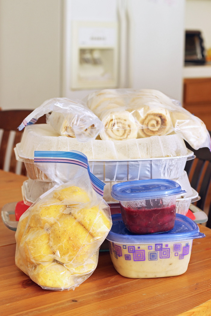 freezer containers of thanksgiving side dishes