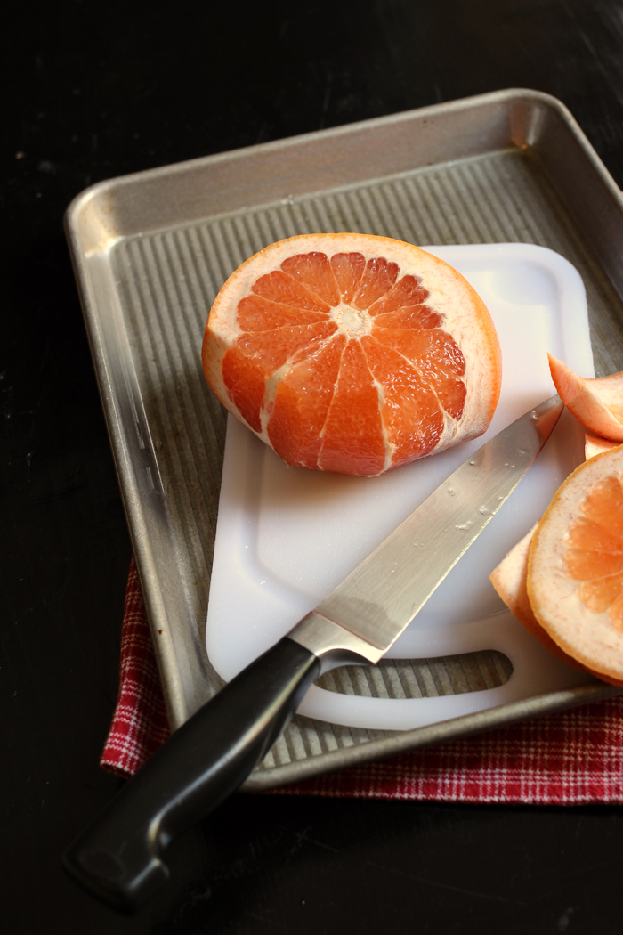 whole grapefruit with rind cut off
