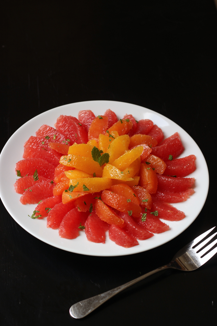 platter of grapefruit and orange sections