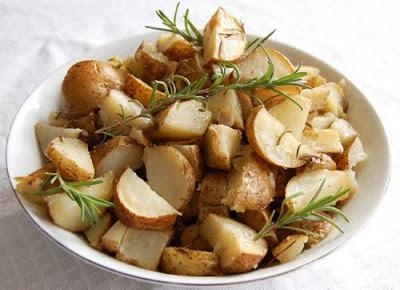 chopped rosemary potatoes in bowl