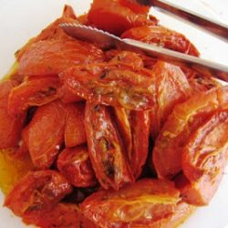roasted tomatoes on a plate