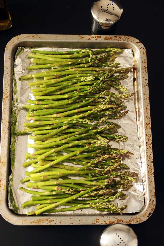 prepped tray of asparagus