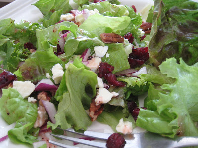 A close up of a plate of salad