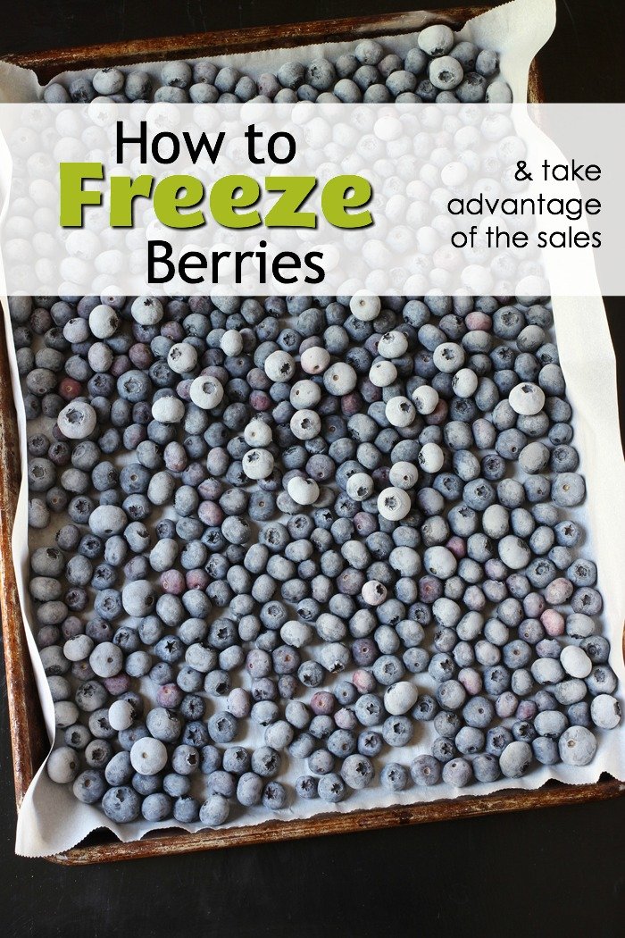 pinnable image of frozen blueberries on a tray