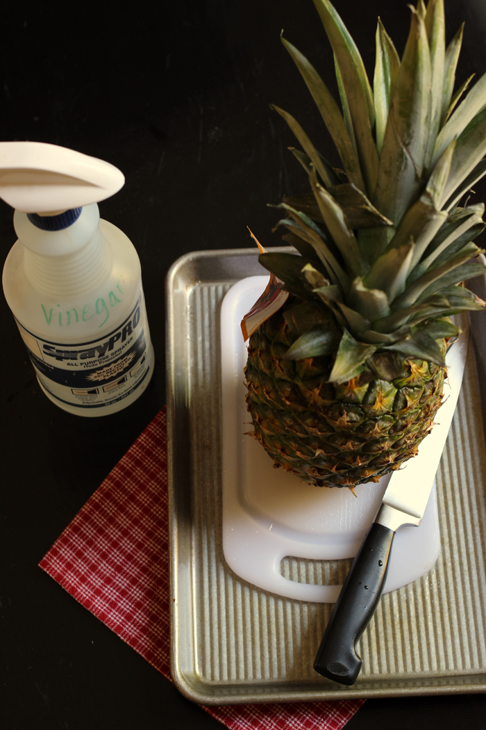 pineapple on cutting board with vinegar and knife nearby