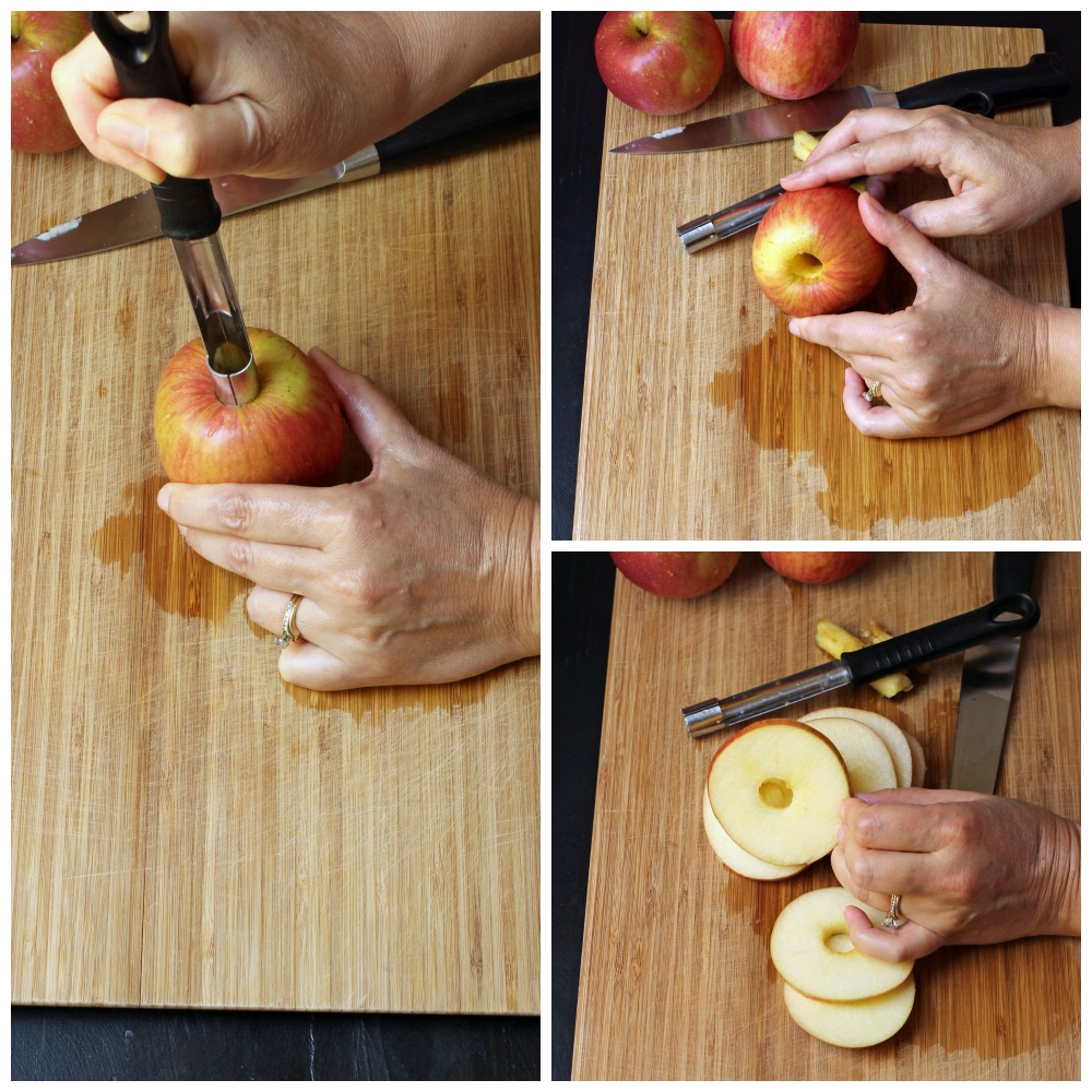 Apple rings cut with corer and knife