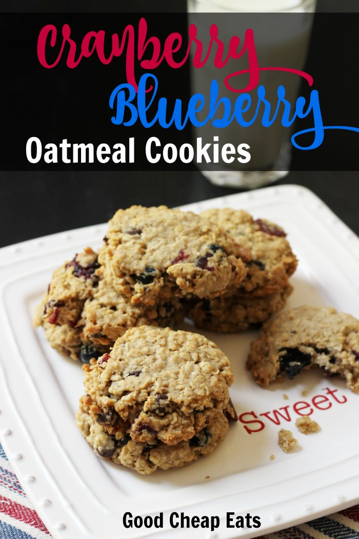 Cranberry Blueberry Oatmeal Cookies | Good Cheap Eats