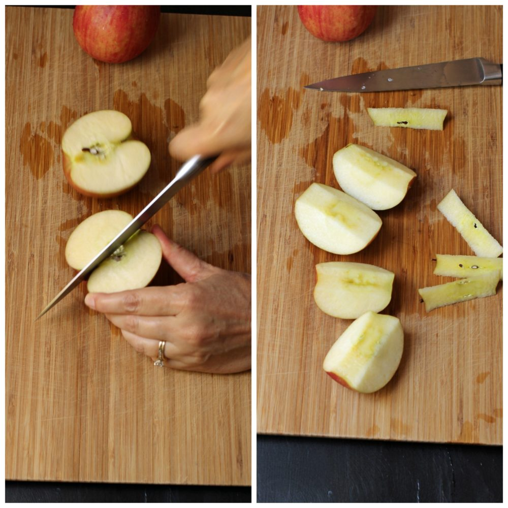 apples sliced through the core, cored, and quartered
