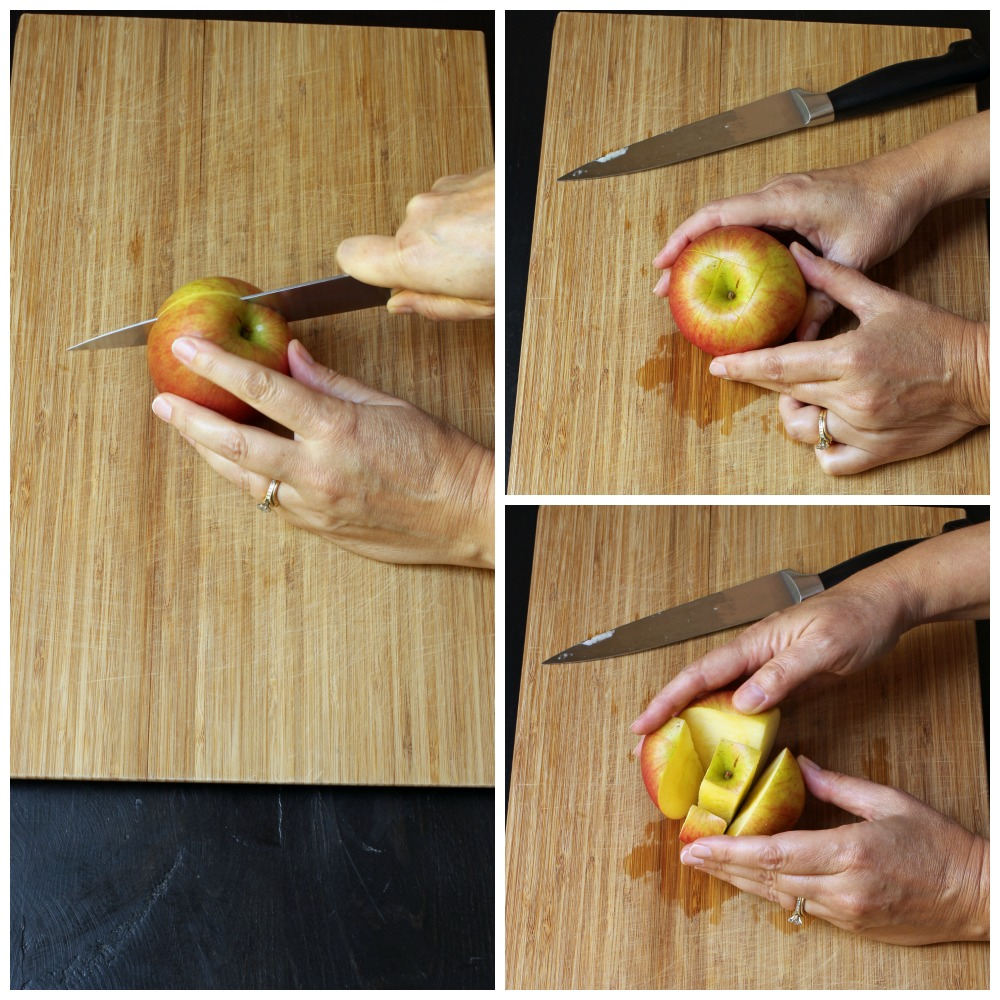 apple slices cut around the core