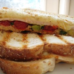 A close up of a panini on a plate