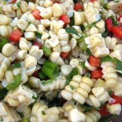 close up of corn salad