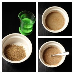 collage of steps to rehydrate flaxseed meal