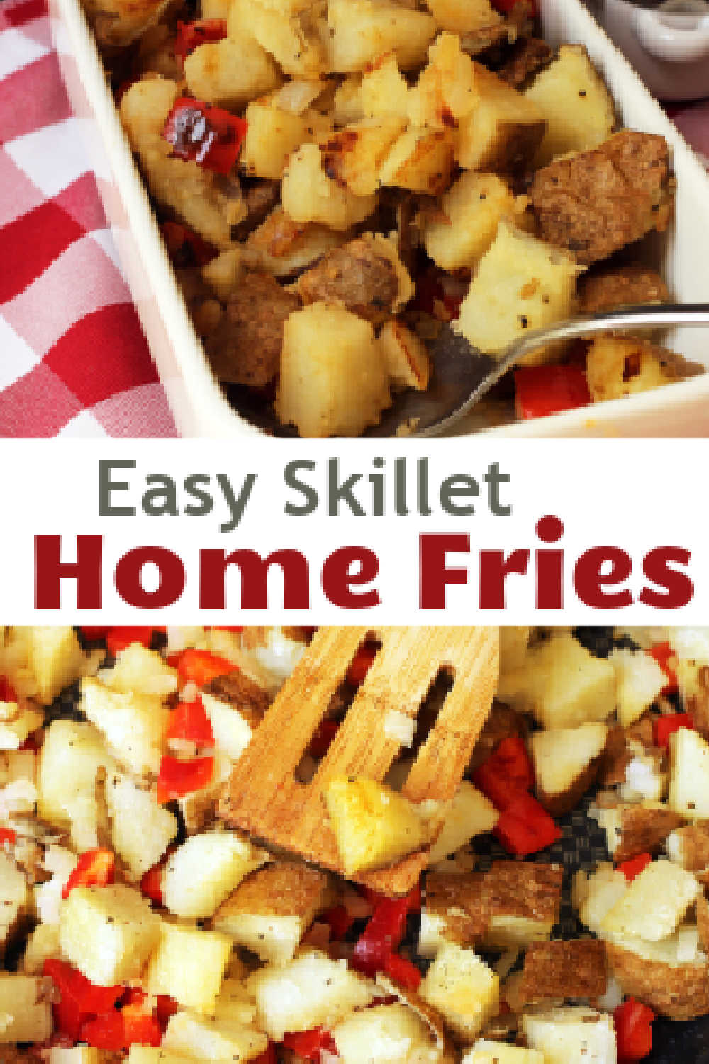 A plate and skillet with home fries