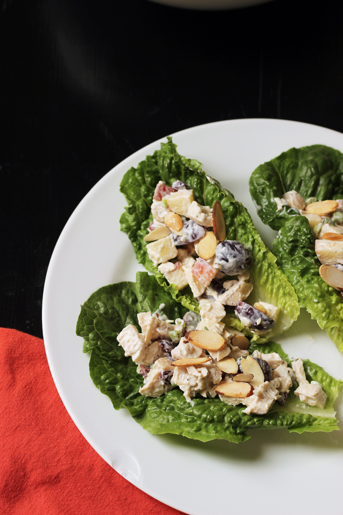 chicken salad in lettuce cups on a plate