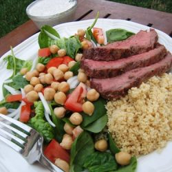 Salad and Steak on a plate
