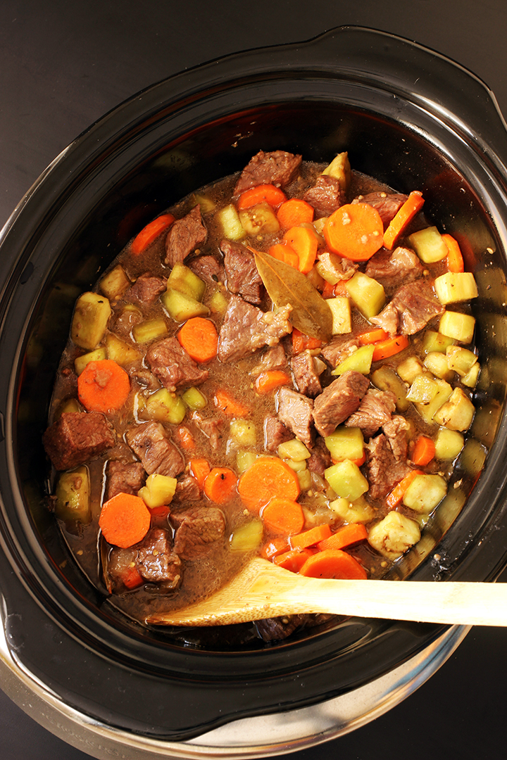 black slow cooker of beef eggplant stew