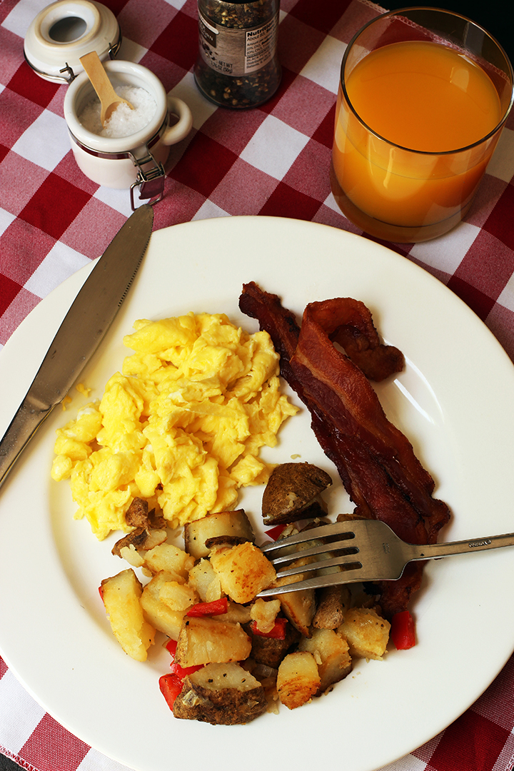 breakfast plate with eggs bacon Home Fries