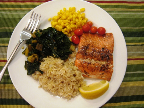 salmon rice pilaf and swiss chard what 39 s on your plate. Black Bedroom Furniture Sets. Home Design Ideas