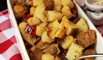 dish of home fries on red checked cloth