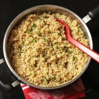 brown rice pilaf in a pan