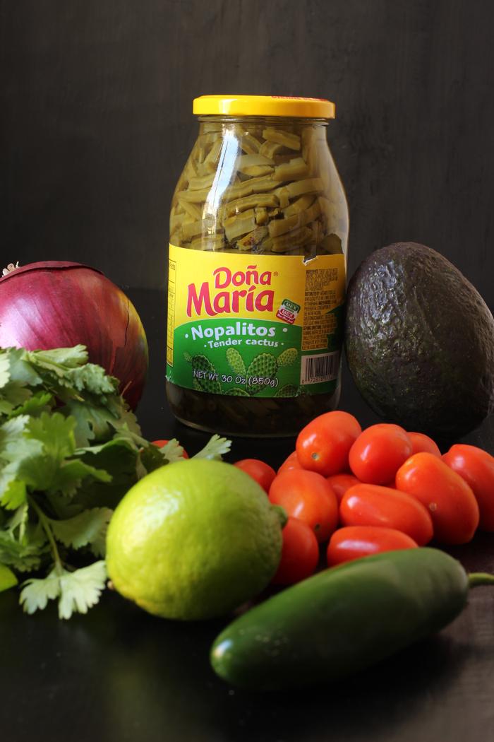 jar of cactus with salsa ingredients