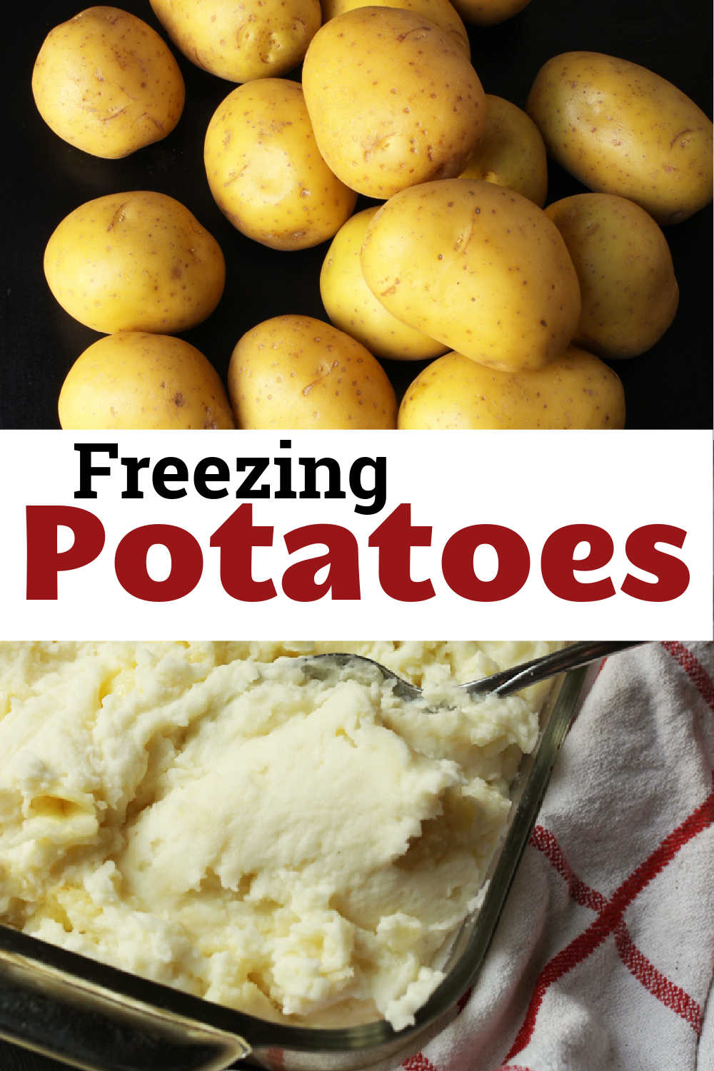 labeled collage for freezing potatoes