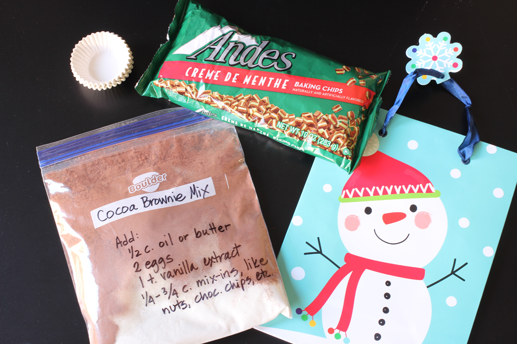 ingredients in kit to make Peppermint Brownie Bites