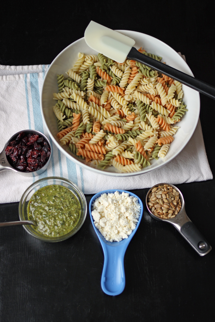 Pesto Cranberry Pasta Salad ingredients