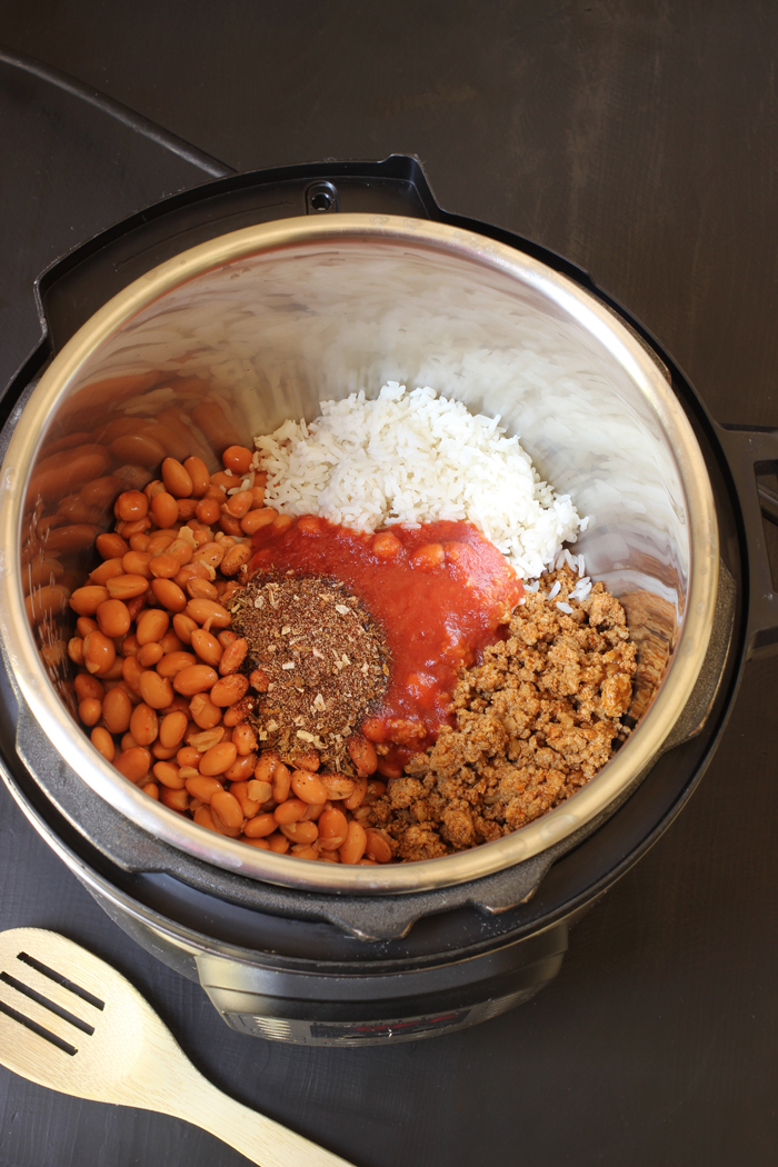 ingredients for Bean and Rice Soup in pressure cooker