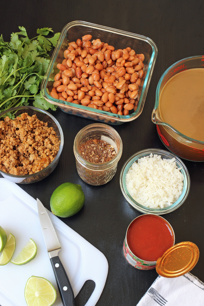ingredients for bean and rice soup