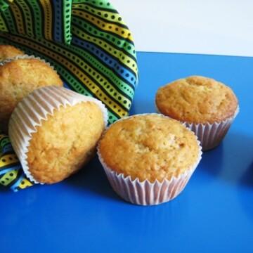 Meyer Lemon Tea Muffins on blue table