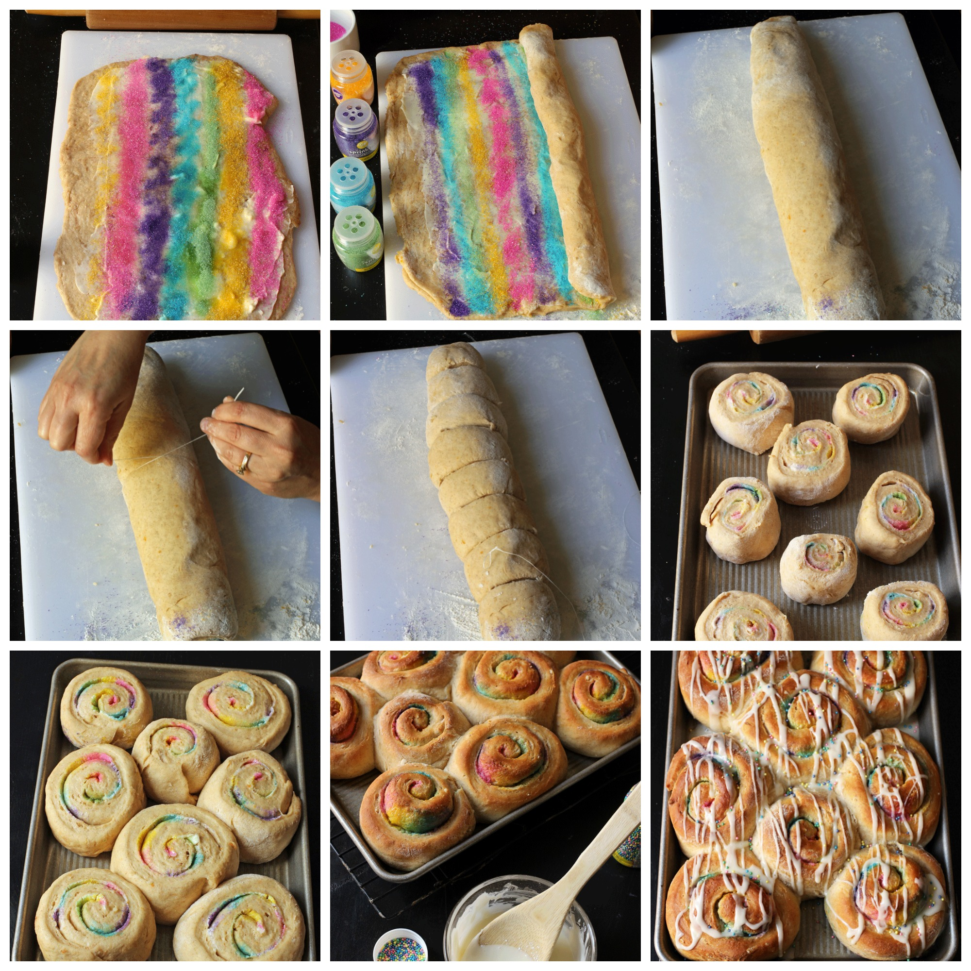 collage of step-by-step photos to make cinnamon rolls