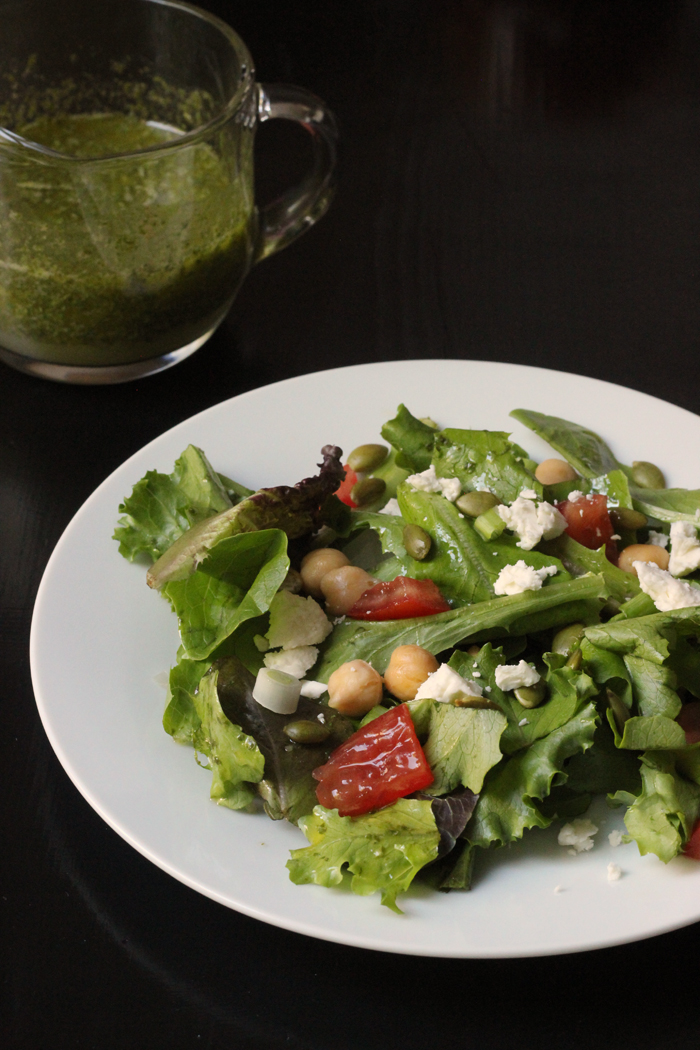 Spring Greens with Pepitas & Feta | Good Cheap Eats
