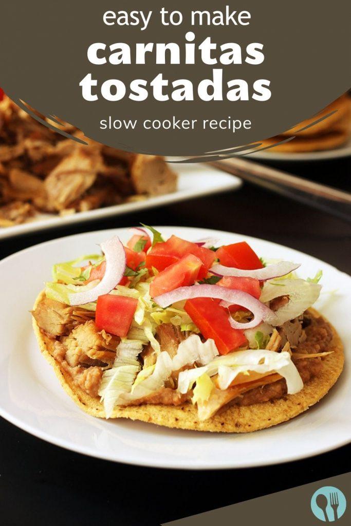 pinnable image for carnitas tostadas