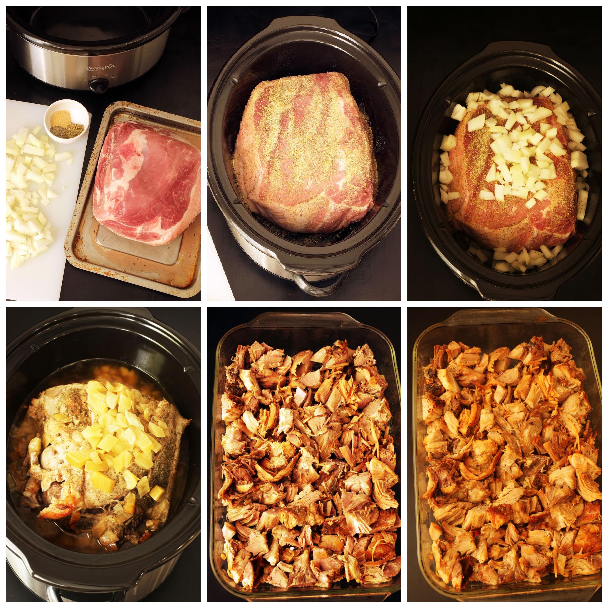 step by step photos of carnitas collage