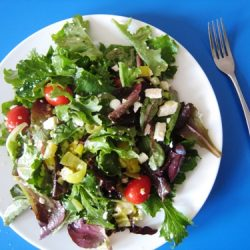 Tossed Salad with Peperoncinis & Feta & an Easy Way to Dress a Salad