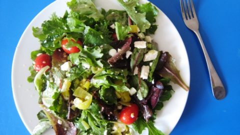 Tossed Salad With Peperoncinis Feta An Easy Way To Dress A Salad