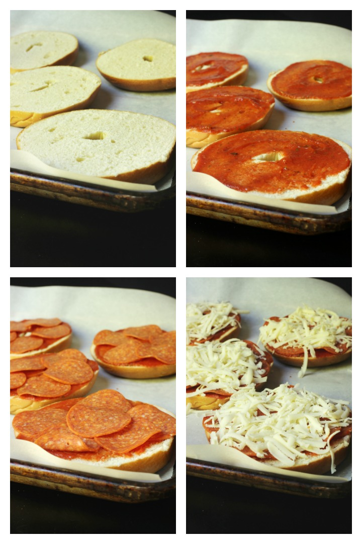 step by step photos of making pizza bagels