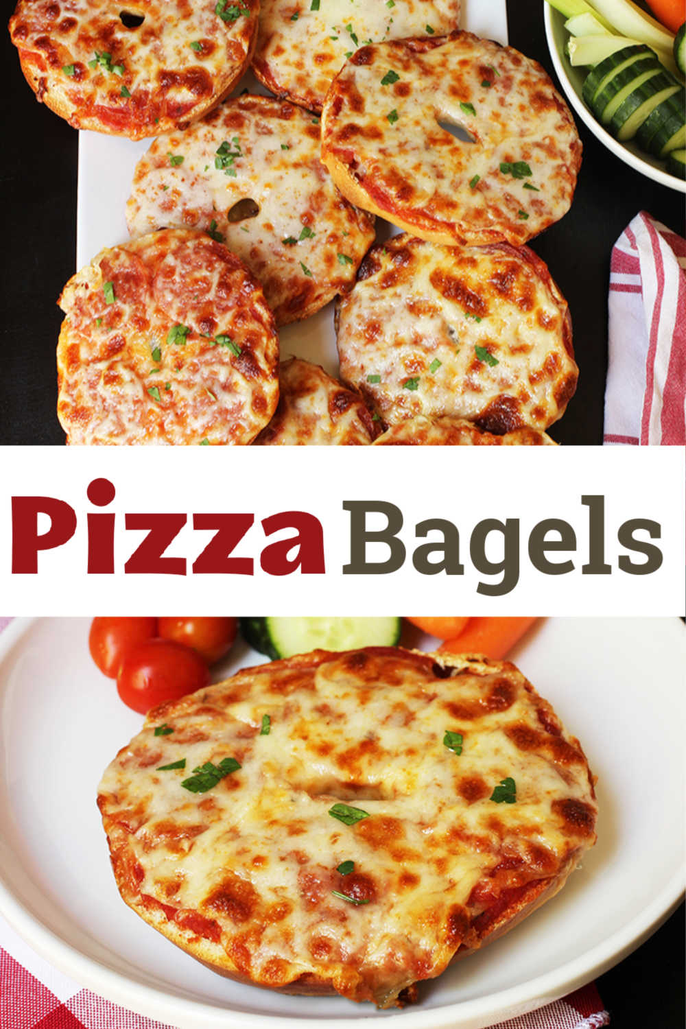 A plate of food with a slice of pizza, with Pizza bagel