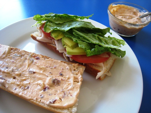 A sandwich spread with Chipotle mayo