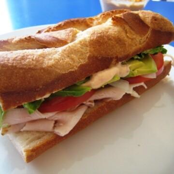 A baguette sandwich on a plate