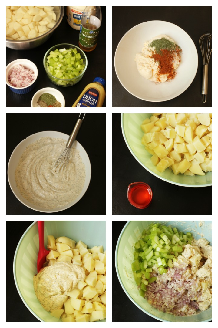 step by step photos of making deli-style potato salad
