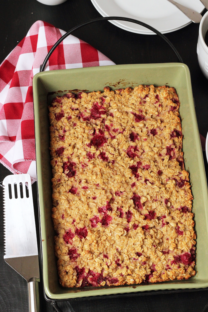 pan of raspberry baked oatmeal