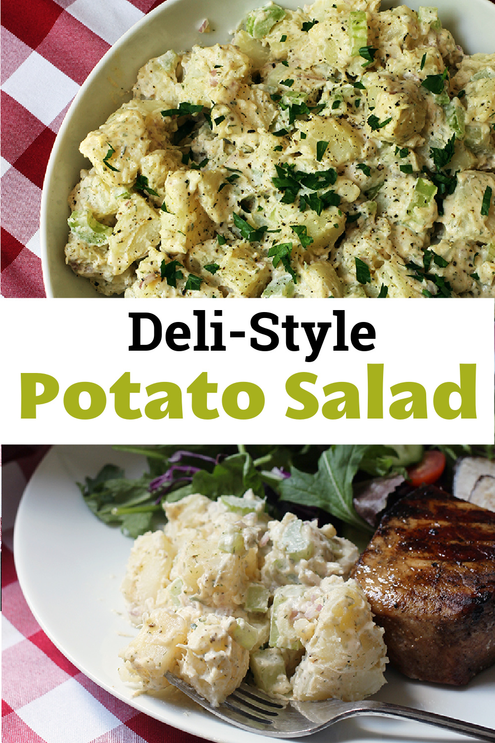 pinnable image for deli style potato salad