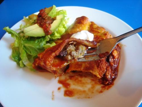 enchilada on a fork