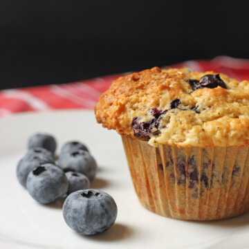 blueberries and muffin on white plate