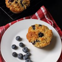 A plate of food on a table, with Muffin and blueberries